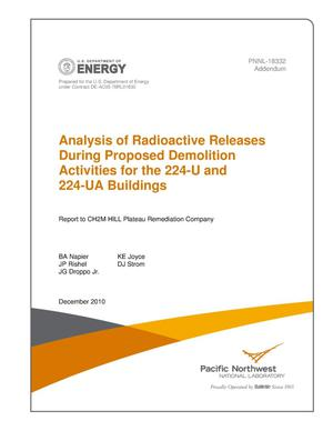 Primary view of object titled 'Analysis of Radioactive Releases During Proposed Demolition Activities for the 224-U and 224-UA Buildings - Addendum'.