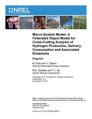 Primary view of object titled 'Macro-System Model: A Federated Object Model for Cross-Cutting Analysis of Hydrogen Production, Delivery, Consumption and Associated Emissions; Preprint'.