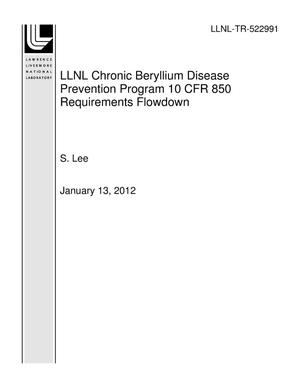 Primary view of object titled 'LLNL Chronic Beryllium Disease Prevention Program 10 CFR 850 Requirements Flowdown'.