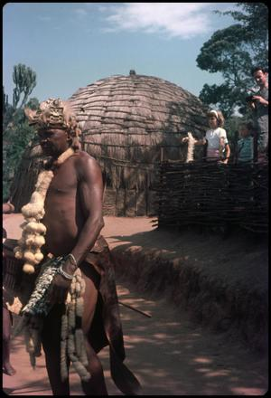 Primary view of object titled 'Zulu man and beehive huts'.