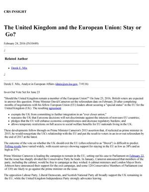 Primary view of object titled 'The United Kingdom and the European Union: Stay or Go?'.