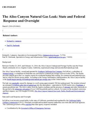 Primary view of object titled 'The Aliso Canyon Natural Gas Leak: State and Federal Response and Oversight'.