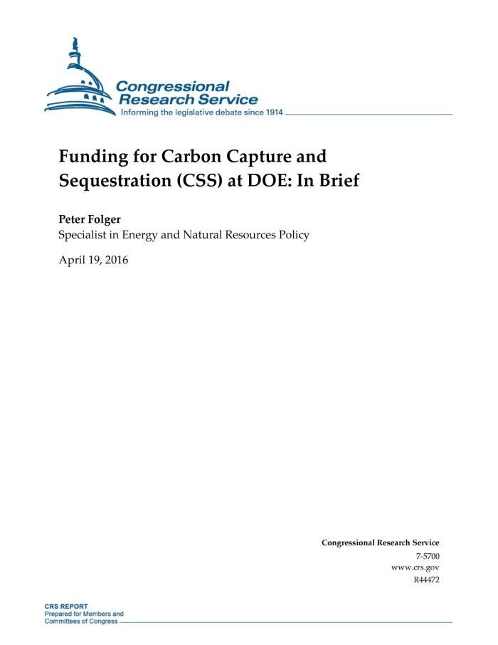 Funding for Carbon Capture and Sequestration (CSS) at DOE