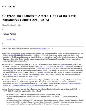 Primary view of object titled 'Congressional Efforts to Amend Title I of the Toxic Substances Control Act (TSCA)'.