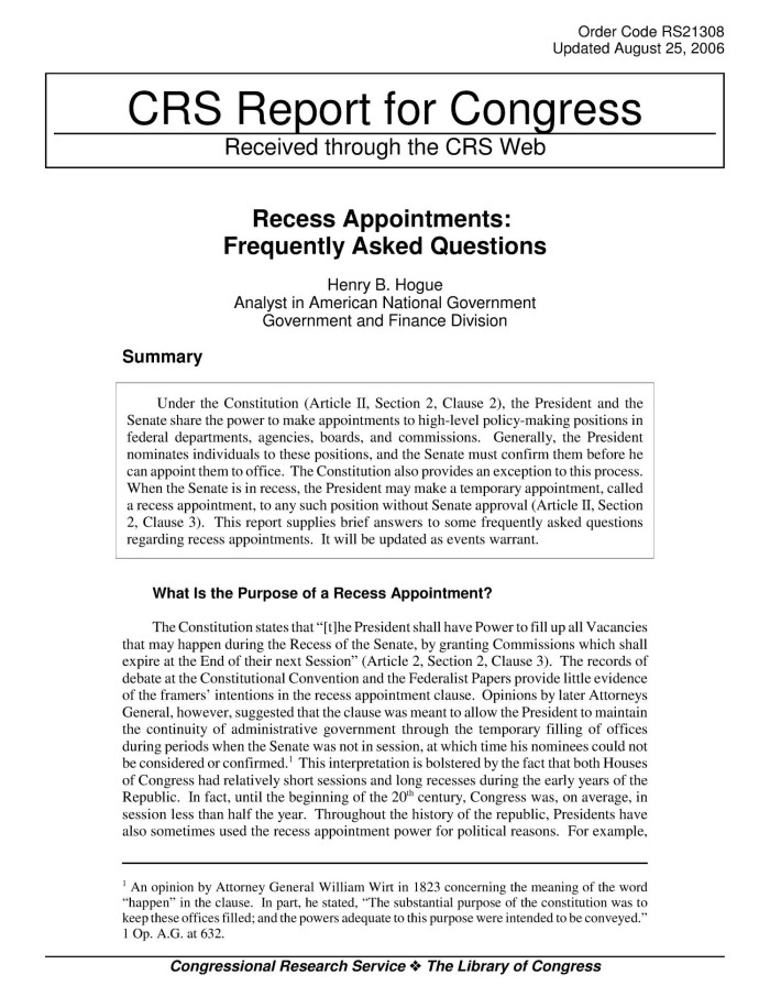 Recess appointments : frequently asked questions, Henry B. Hogue