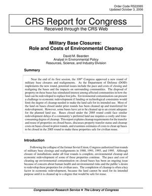 Primary view of object titled 'Military Base Closures: Role and Costs of Environmental Cleanup'.