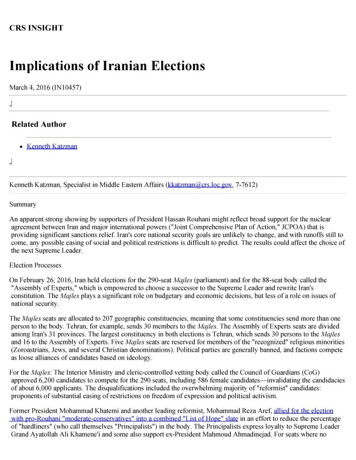 Implications Of Iranian Elections Digital Library