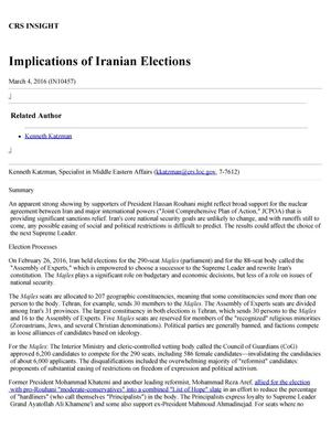 Implications of Iranian Elections - Digital Library