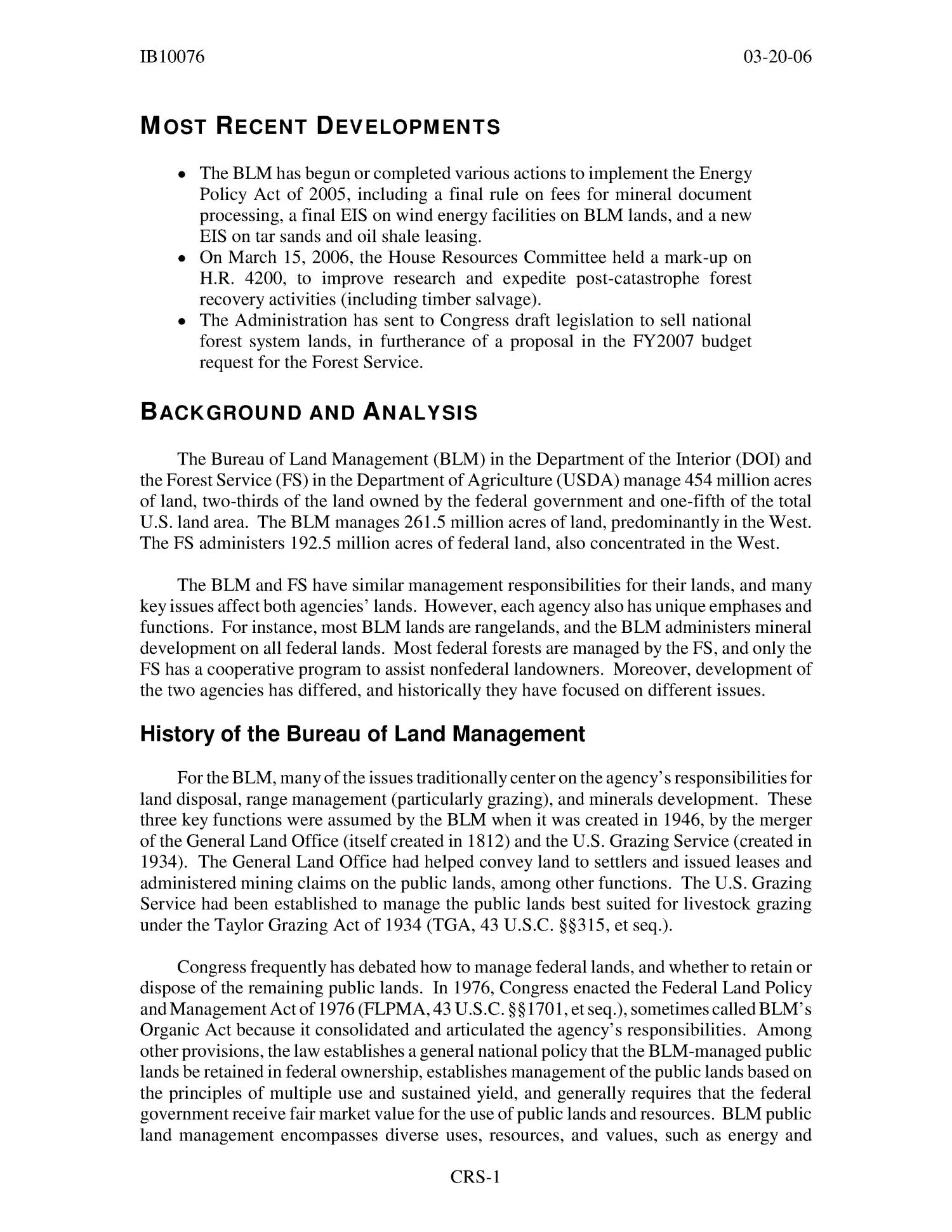 Bureau of Land Management (BLM) Lands and National Forests                                                                                                      [Sequence #]: 4 of 18