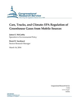 Primary view of object titled 'Cars, Trucks, and Climate: EPA Regulation of Greenhouse Gases from Mobile Sources'.