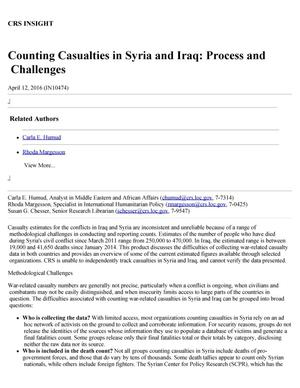 Primary view of object titled 'Counting Casualties in Syria and Iraq: Process and Challenges'.
