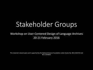 Primary view of object titled 'Stakeholder Groups'.