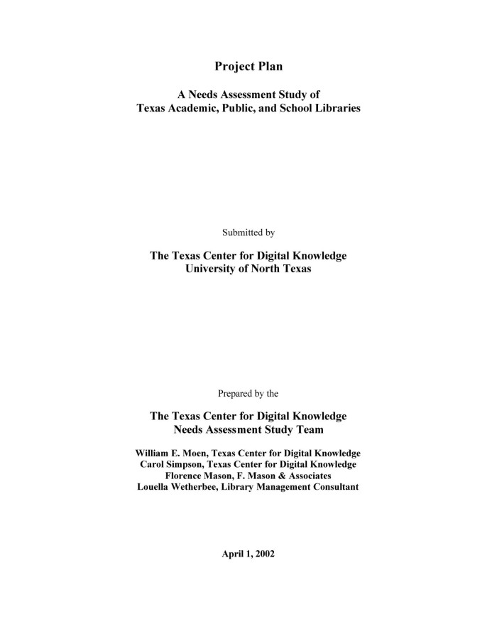 Needs Assessment Study Of Texas Academic Public And School