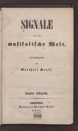 Primary view of Signale für die musikalische Welt, Volume 9