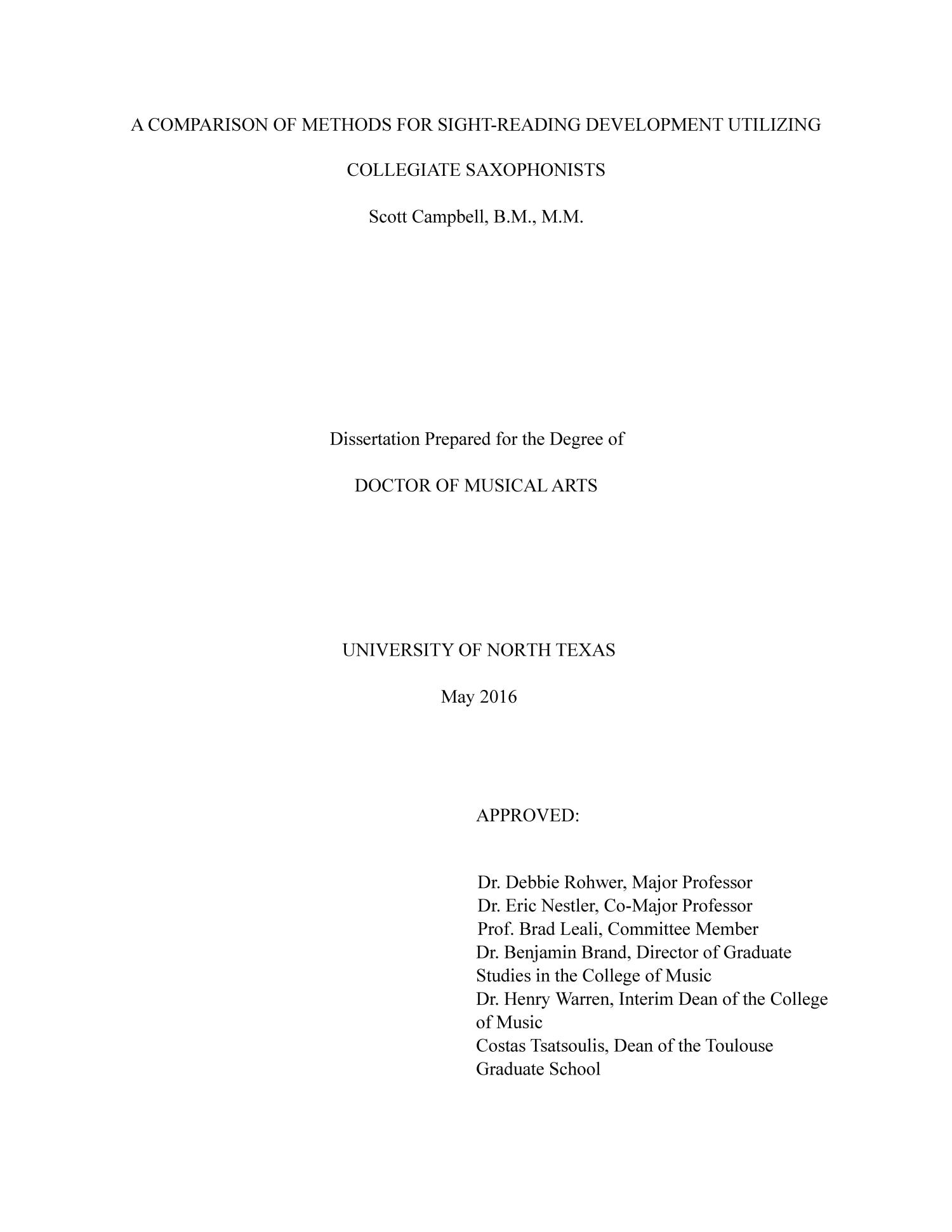 A Comparison of Methods for Sight-Reading Utilizing Collegiate Saxophonists                                                                                                      Title Page