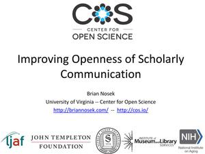 Primary view of object titled 'Improving Openness of Scholarly Communication'.