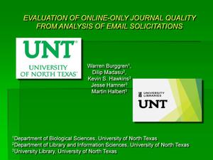 Primary view of object titled 'Evaluation of Online-Only Journal Quality from Analysis of Email Solicitations'.