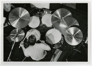Primary view of object titled '[One O'Clock Lab Band drummer, James Hall]'.