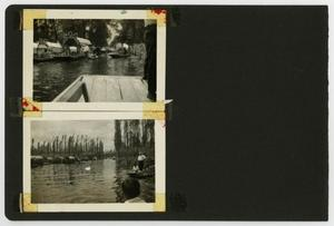 "Primary view of object titled '[Album page with two photos ""river boats""]'."