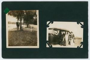 "Primary view of object titled '[Album page with five photos""outdoors/lake""]'."