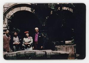 Primary view of object titled '[Group posing with fountain]'.