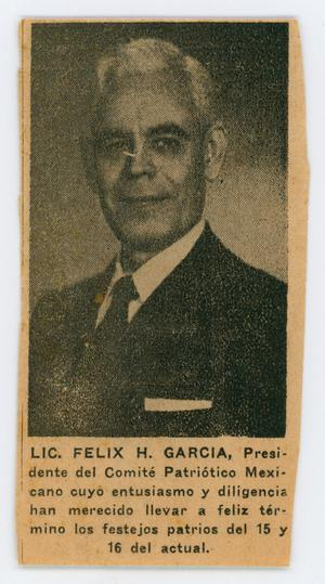 Primary view of object titled '[Felix H. Garcia]'.