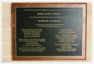 Primary view of object titled '[Sarah T. Hughes commemorative plaque]'.