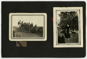 Primary view of object titled '[Album page with two photos and an illustration]'.