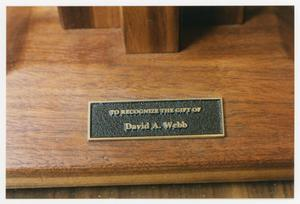 Primary view of object titled '[David A. Webb plaque in the Sarah T. Hughes Reading Room 1]'.