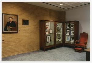 Primary view of object titled '[Sarah T. Hughes Reading Room portrait and display cases 1]'.