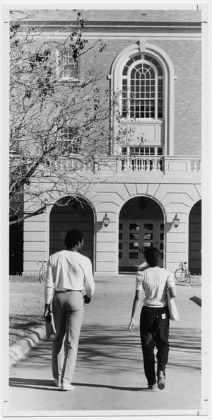 Primary view of object titled '[Students walking towards Business Administration Building]'.