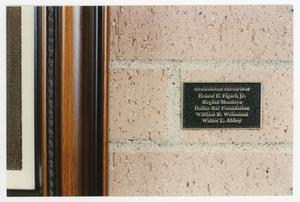 Primary view of object titled '[Dedication plaque located in the Sarah T. Hughes Reading Room]'.