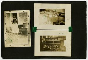 "Primary view of object titled '[Album page with five photos ""Plaza Cafe""]'."