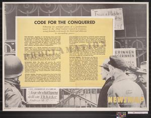 Primary view of object titled 'Newsmap for the Armed Forces : Code for the Conquered'.