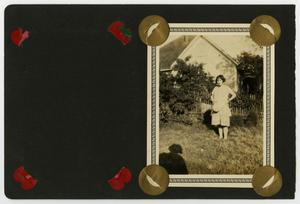"Primary view of object titled '[Album page with one photo ""woman standing""]'."