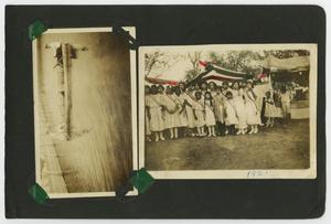 "Primary view of object titled '[Album page with five photos ""fair/parade""]'."