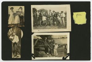 "Primary view of object titled '[Album page with five photos ""outdoors""]'."