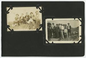"Primary view of object titled '[Album page with five photos ""large groups""]'."