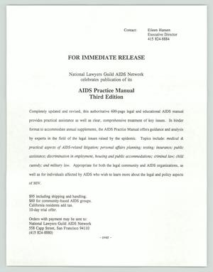 Primary view of object titled '[Press Release: AIDS Practive Manual]'.