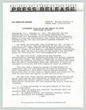 Primary view of object titled '[Press Release: Government Study of AZT]'.
