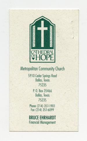 Primary view of object titled '[Business Card: Cathedral of Hope]'.