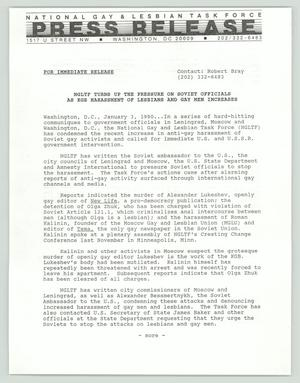 Primary view of object titled '[Press Release: KGB Harrasment of LGBT]'.