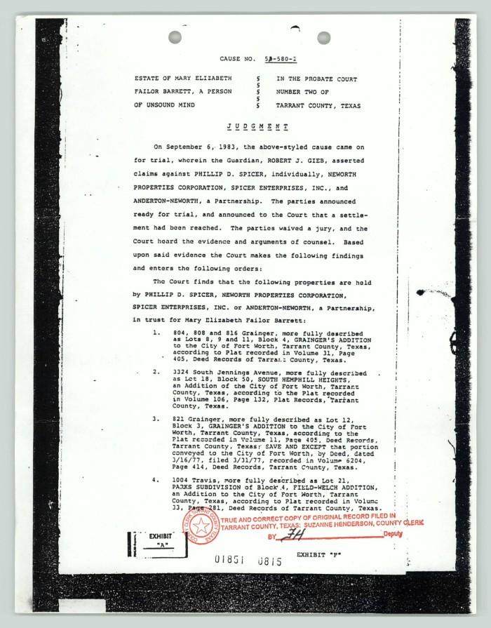 Legal Documents Barrett Estate Judgement Digital Library - Texas legal documents