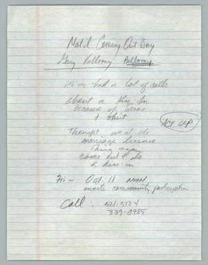 Primary view of object titled '[Handwritten Notes: National Coming Out Day]'.