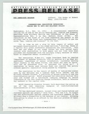 Primary view of object titled '[Press Release: Congressional Resolution Introduced]'.