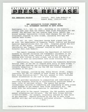 Primary view of object titled '[Press Release: National Gay & Lesbian Task Force]'.