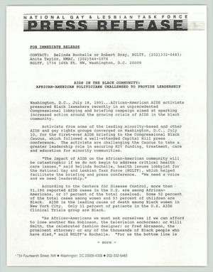 Primary view of object titled '[Press Release: AIDS in the Black Community]'.