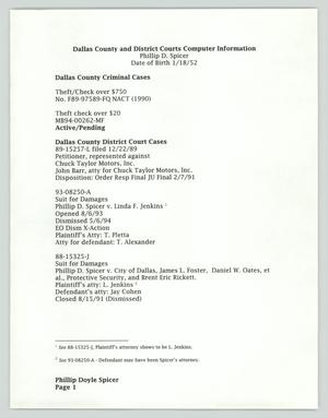 Primary view of object titled '[Informational Document: Dallas County Criminal Cases]'.