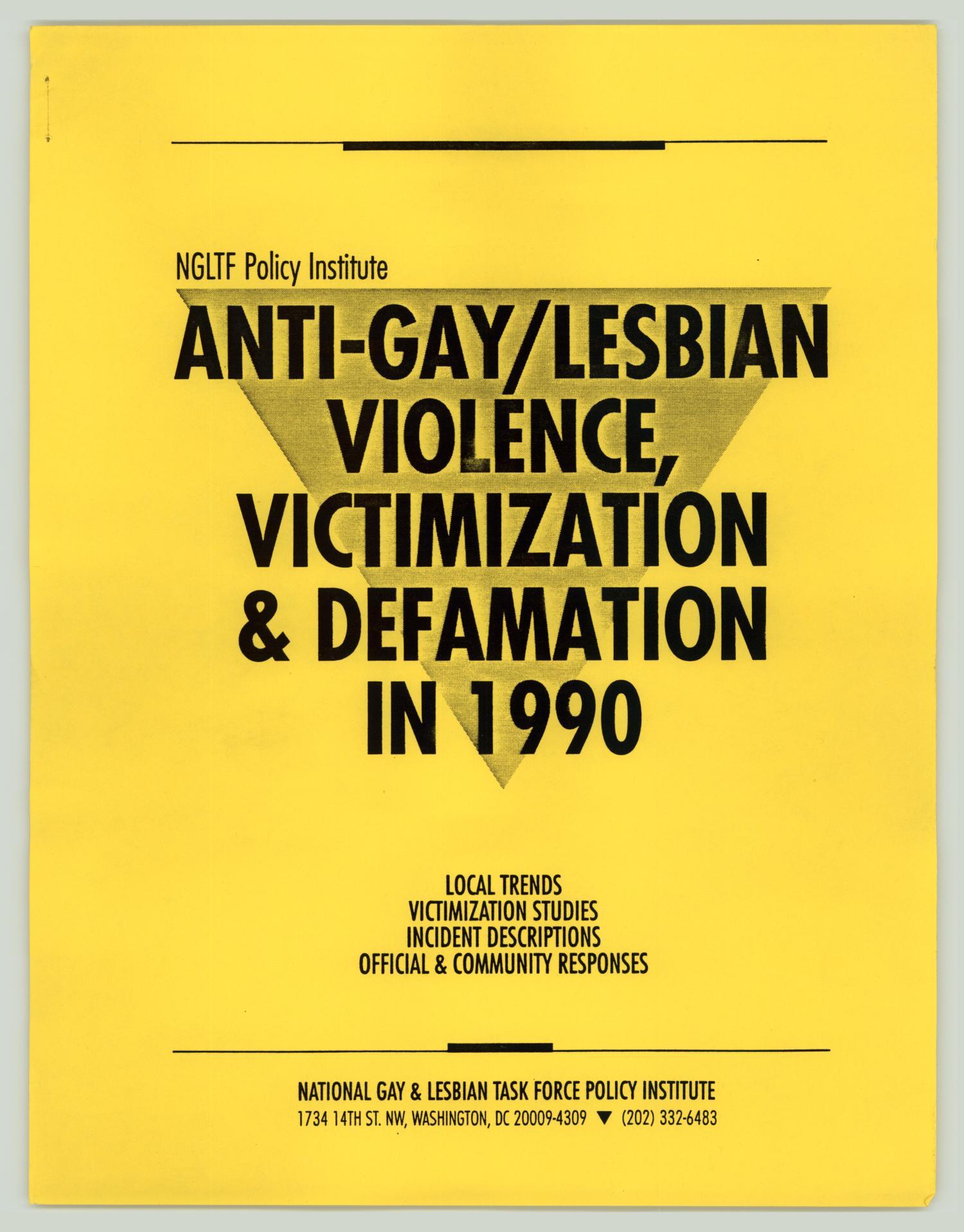 [Policy Handbook: Anti-Gay/Lesbian Violence, Victimization & Defamation in  1990] - Digital Library