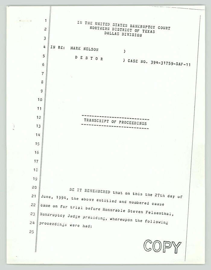 Copy of transcript of proceedings mark william nelson bankruptcy primary view of object titled copy of transcript of proceedings mark william nelson altavistaventures Images
